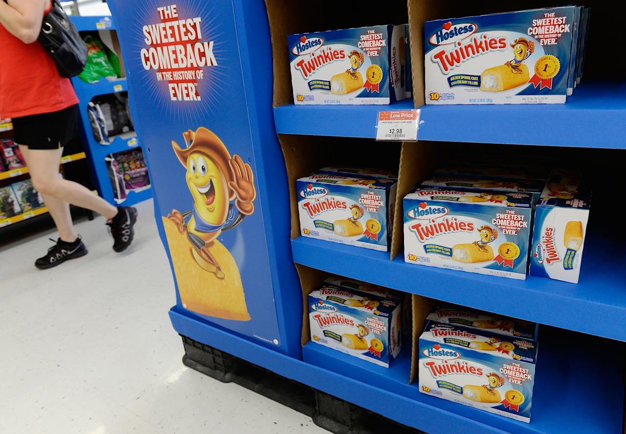 PICO RIVERA, CA - JULY 15: Hostess Twinkie snack cakes are on display at a store July 15, 2013, Pico Rivera, California. Twinkies returned to store shelves after Hostess filed for Chapter 11 bankruptcy late last year, after years of management turmoil and a standoff with its second-biggest union. The company sold off its various brands, with Twinkies and other Hostess cakes going to private equity firms Apollo Global Management and Metropoulos & Co. (Photo by Kevork Djansezian/Getty Images)