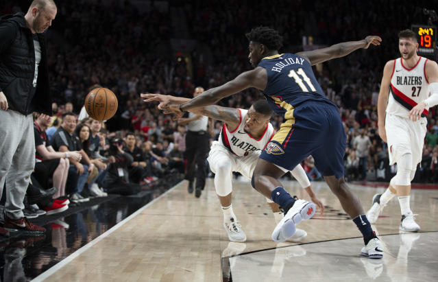 The Pelicans' Jrue Holiday disrupted the rhythm of Blazers All-Star Damian Lillard throughout Game 1. (AP)