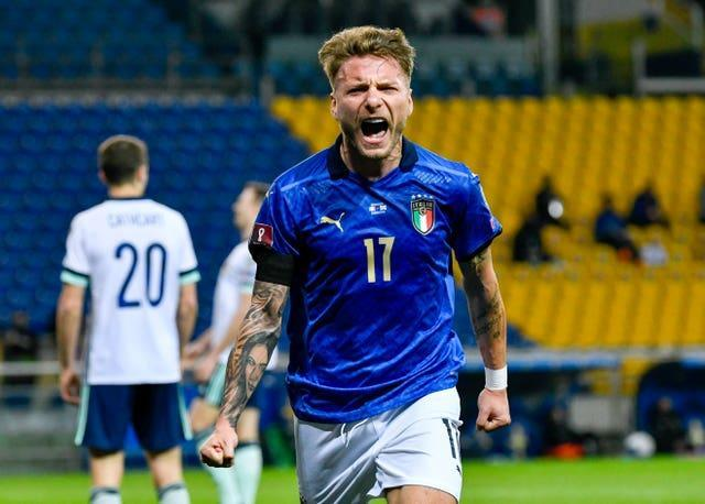 Ciro Immobile celebrates scoring against Northern Ireland