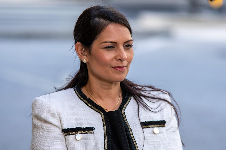 LONDON, UNITED KINGDOM - JUNE 28, 2020:                         Home Secretary Priti Patel at the BBC before appearing on the Andrew Marr Show.                         London, Great Britain, 28 Jun 2020                                                  David Nash / Barcroft Media- PHOTOGRAPH BY David Nash / Barcroft Studios / Future Publishing (Photo credit should read David Nash/Barcroft Media via Getty Images)