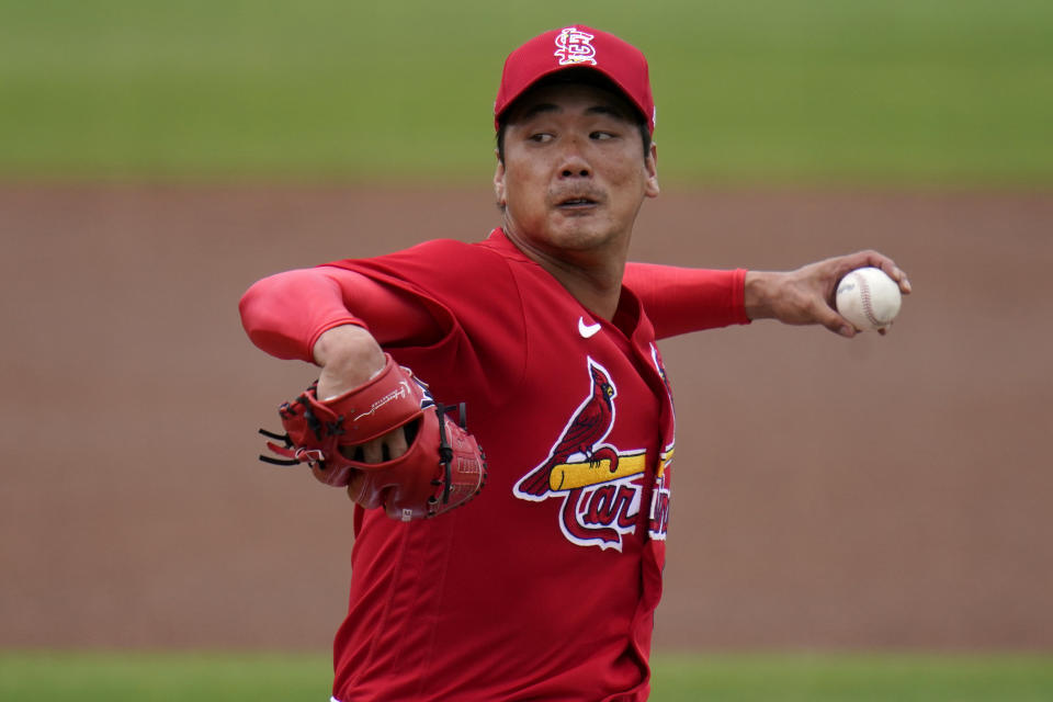 St. Louis Cardinals starting pitcher Kwang Hyun Kim throws during the first inning of a spring training baseball game against the New York Mets Wednesday, March 3, 2021, in Jupiter, Fla. (AP Photo/Jeff Roberson)