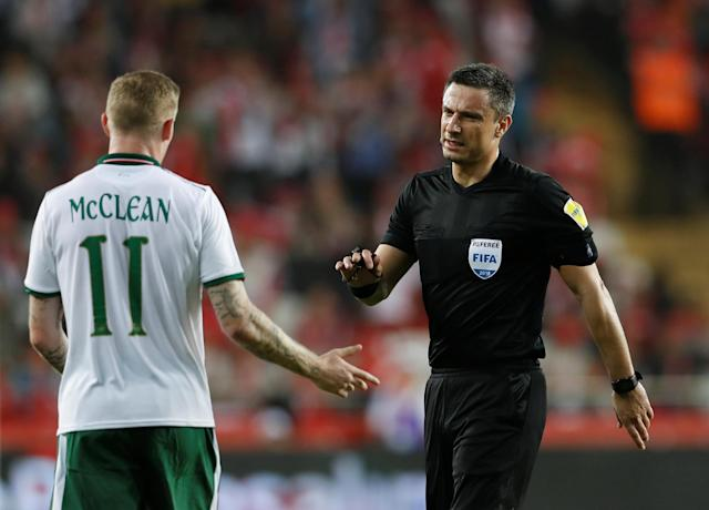 Soccer Football - International Friendly - Turkey vs Republic of Ireland - New Antalya Stadium, Antalya, Turkey - March 23, 2018 Republic of Ireland's James McClean talks to referee Slavko Vincic REUTERS/Murad Sezer