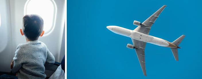 boy-looking-out-window-and-airplane-blue-sky