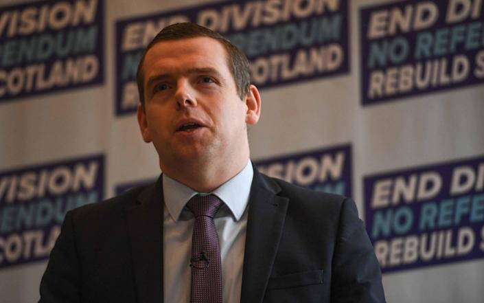 Douglas Ross launching the Scottish Tory election campaign - Getty Images Europe
