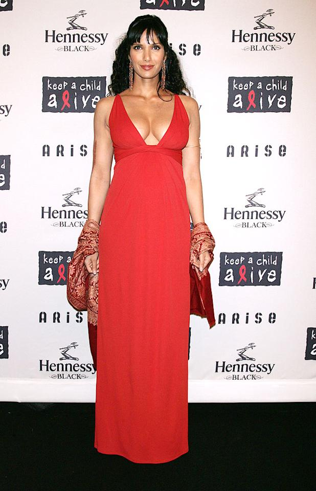 "Mommy-to-be Padma Lakshmi (""Top Chef"") rocked a red-hot Gucci gown. ST/<a href=""http://www.splashnewsonline.com/"" target=""new"">Splash News</a> - October 15, 2009"