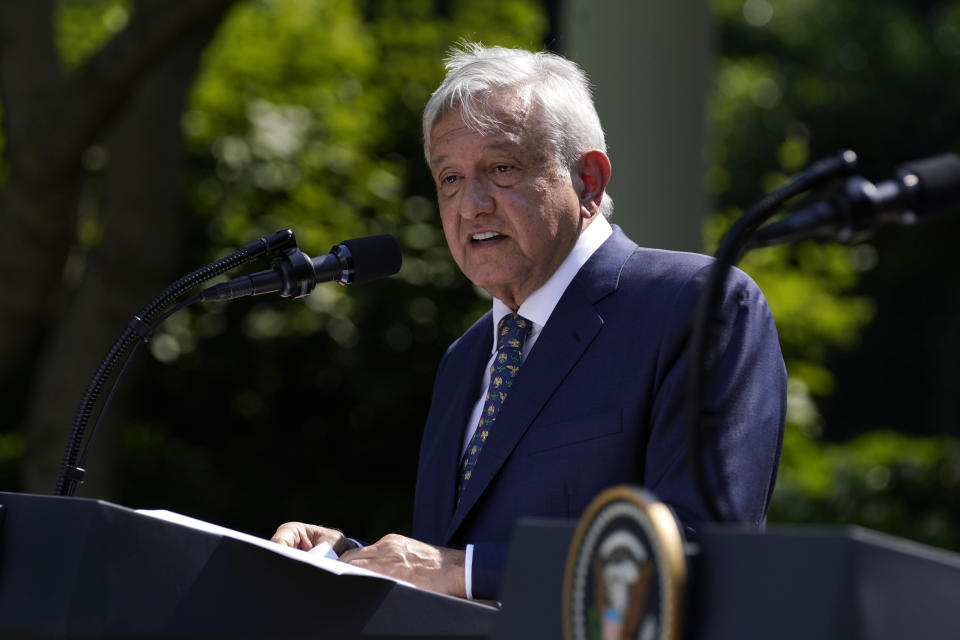 Mexican President Andres Manuel Lopez Obrador speaks during an event in the Rose Garden at the White House, Wednesday, July 8, 2020, in Washington. (AP Photo/Evan Vucci)
