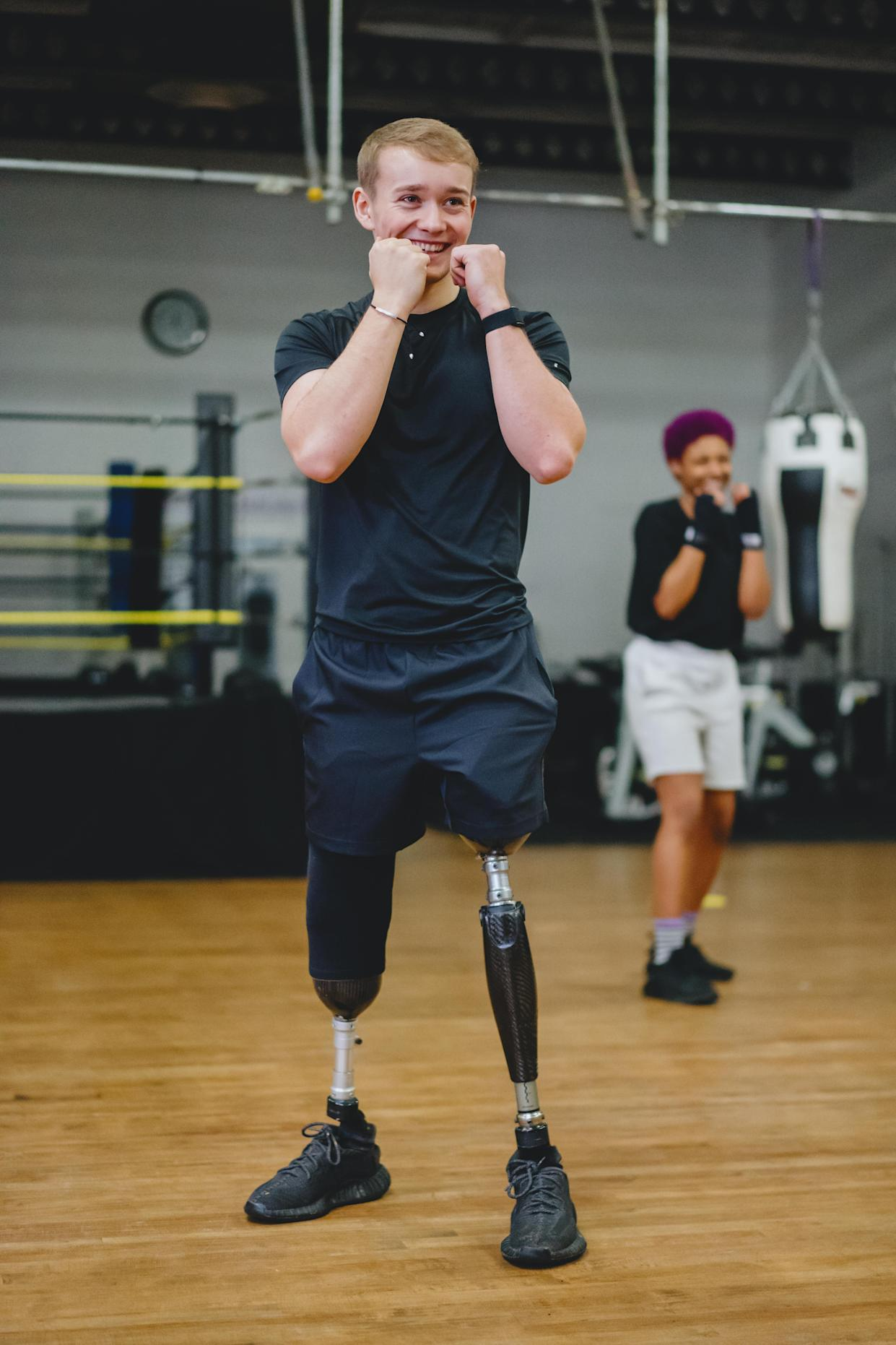 Billy Monger trains at Fight 4 Change in London (Jordan Mansfield/Comic Relief/PA)