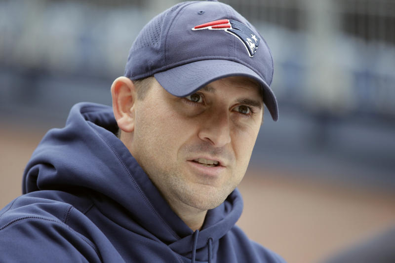 FILE - In this Nov. 1, 2018, file photo, New England Patriots special teams coach Joe Judge speaks with reporters before an NFL football practice in Foxborough, Mass. The New York Giants and Patriots assistant Joe Judge are working on a deal for him to become the team's head coach, a person familiar with the negotiations told The Associated Press The person spoke to the on condition of anonymity Tuesday, Jan. 7, 2020, because the deal is not done. (AP Photo/Steven Senne, File)