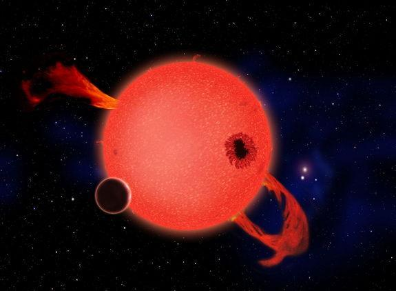 When it's young, a red dwarf star frequently erupts with strong ultraviolet flares as shown in this artist's conception. Some have argued that life would be impossible on any planet orbiting in the star's habitable zone as a result. However, th