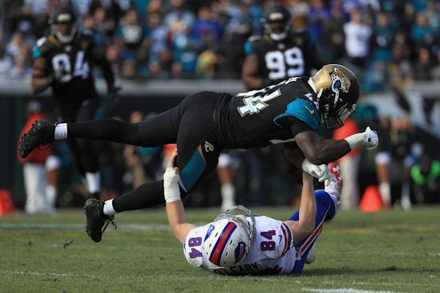 <p>Outside linebacker Myles Jack #44 of the Jacksonville Jaguars breaks up a pass intended for tight end Nick O'Leary #84 of the Buffalo Bills in the third quarter during the AFC Wild Card Playoff game at EverBank Field on January 7, 2018 in Jacksonville, Florida. (Photo by Mike Ehrmann/Getty Images) </p>