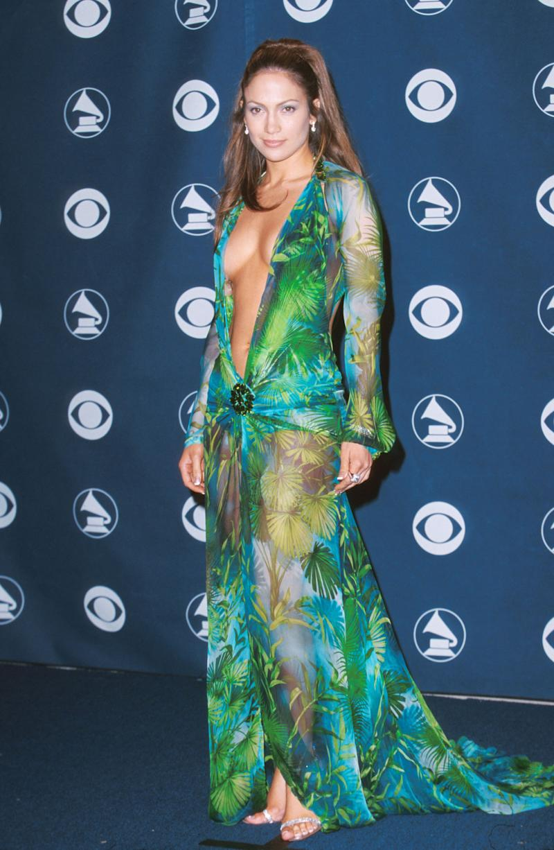 Jennifer Lopez introduced the world to the now-famous Versace green dress during the Grammy awards in 2000. (Photo: Jeff Vespa/WireImage)