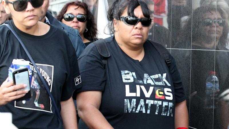 Perina James (right), the mother of Elijah Doughty, leaves the Supreme Court in Perth.