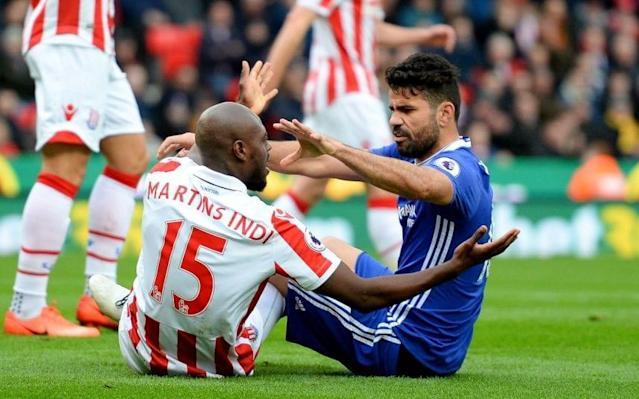 <span>Costa was given a rough ride by Stoke's back line</span>
