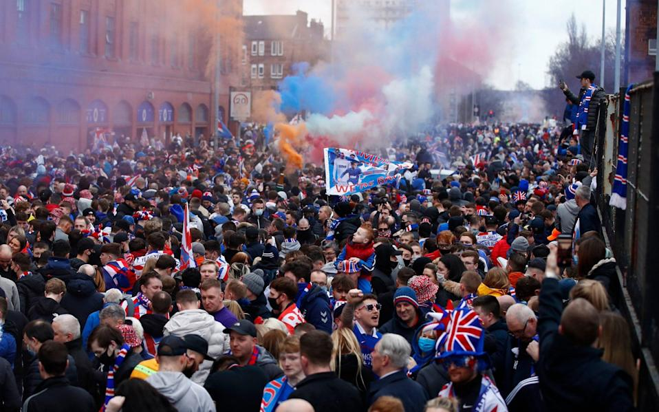 Rangers fans celebrate winning the Scottish Premiership at Ibrox - Action Images via Reuters