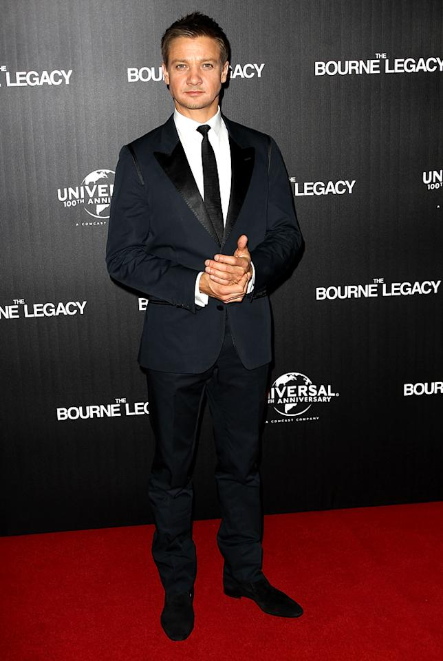 "And last but not least we have action star extraordinaire Jeremy Renner, who cleaned up quite nicely for the Australian premiere of his soon-to-be blockbuster, ""The Bourne Legacy."" Helping him achieve his dapper look were a D&G suit, shirt, and tie, along with Christian Louboutin loafers. Designer labels aren't just for Hollywood's leading ladies! (8/8/2012) Follow 2 Hot 2 Handle creator, Matt Whitfield, on Twitter!"
