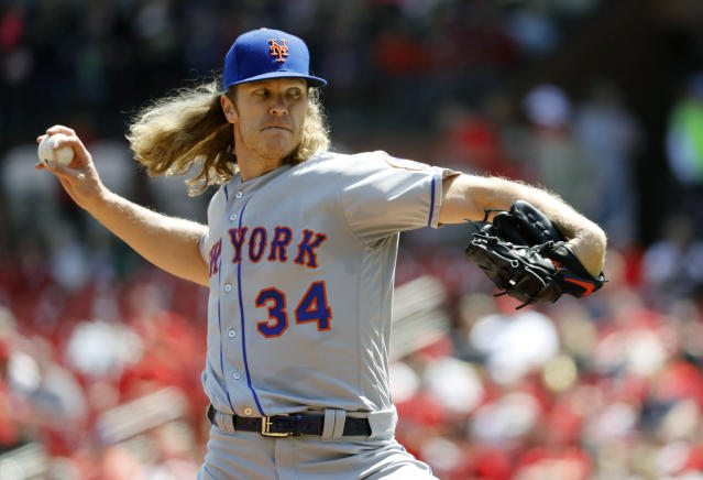 New York Mets starting pitcher Noah Syndergaard throws during the first inning of a baseball game against the St. Louis Cardinals Thursday, April 26, 2018, in St. Louis. (AP Photo/Jeff Roberson)