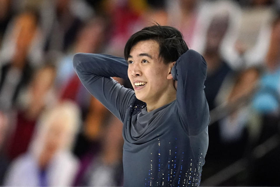 Vincent Zhou reacts after finishing his routine during the men's short program at the U.S. Figure Skating Championships, Saturday, Jan. 16, 2021, in Las Vegas. (AP Photo/John Locher)