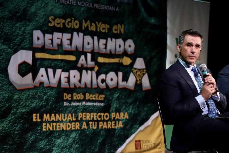 "MEXICO CITY, MEXICO - JULY 03: Sergio Mayer talks to the press during the presentation of the new season of the play ""Defendiendo al Cavernícola"", a role he will play at Lopez Tarso Theatre on July 3, 2019 in Mexico City, Mexico. (Photo by Medios y Media/Getty Images)"