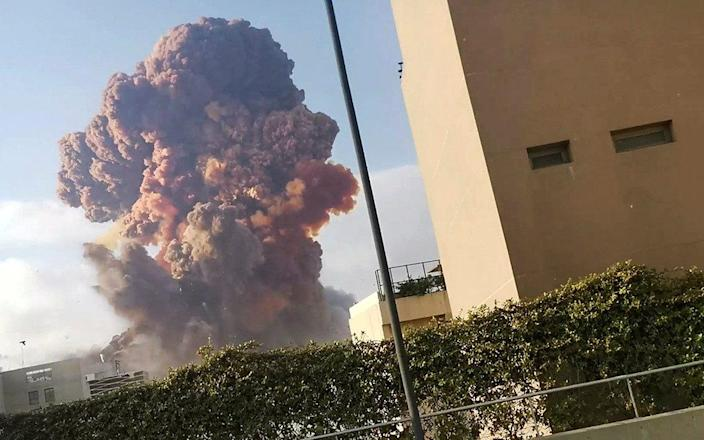 The orange-brown colour of the cloud after the Beirut blast is typical of an ammonium nitrate explosion, say experts - Karim Sokhn/via Reuters