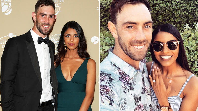 Glenn Maxwell and fiancee Vini Raman, pictured here at the Australian Cricket Awards.