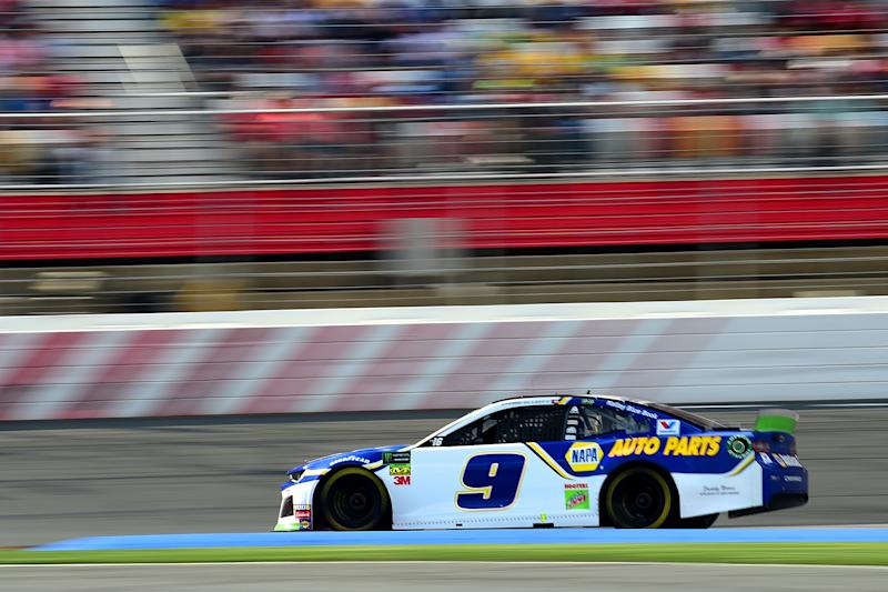 CHARLOTTE, NORTH CAROLINA - SEPTEMBER 29: Chase Elliott, driver of the #9 NAPA Auto Parts Chevrolet, races during the Monster Energy NASCAR Cup Series Bank of America ROVAL 400 at Charlotte Motor Speedway on September 29, 2019 in Charlotte, North Carolina. (Photo by Jared C. Tilton/Getty Images)
