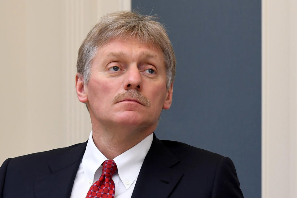 """FILE - In this Tuesday, April 14, 2020 file photo, Kremlin spokesman Dmitry Peskov attends a video conference with Russian President Vladimir Putin at a situation center in the Kremlin in Moscow, Russia. Dmitry Peskov and other Russian officials on Wednesday, July 29 rejected accusations that Moscow is spreading disinformation about the coronavirus pandemic in the U.S., slamming them as """"conspiracy theories"""" and a """"persistent phobia."""" (Alexei Nikolsky, Sputnik, Kremlin Pool Photo via AP, File)"""