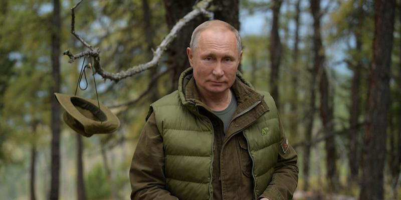 Russian President Vladimir Putin is seen during his holiday in the Siberian taiga.