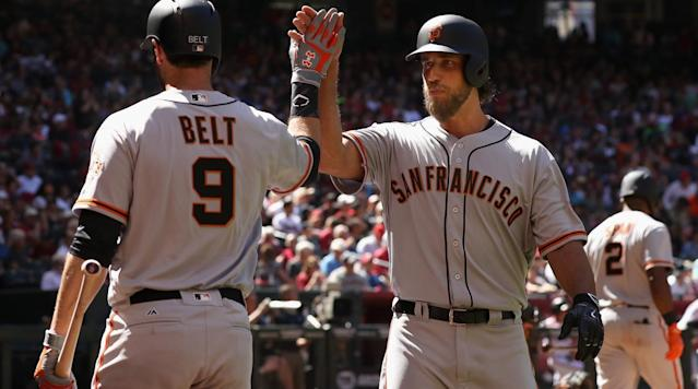 """<p>San Francisco Giants ace Madison Bumgarner hit a solo home run on a line drive to left center field in the fifth inning off Arizona Diamondbacks starter Zach Greinke. He added a second one in the top of the seventh inning off Andrew Chafin.</p><p>Bumgarner now has 18 career home runs, which is the most for an active pitcher. His career-high for a season is five home runs in 2015.</p><p>He is the first pitcher to hit two home runs on Opening Day. Don Drysdale hit two home runs in separate games on Opening Day.</p><p>Bumgarner is the first Giants player to hit two home runs on Opening Day since Barry Bonds in 2002.</p><p>Clayton Kershaw's 2013 Opening Day home run is the only other dinger by a pitcher on Opening Day in the last 25 seasons, <a href=""""https://twitter.com/ktsharp/status/848648018362585088"""" rel=""""nofollow noopener"""" target=""""_blank"""" data-ylk=""""slk:according"""" class=""""link rapid-noclick-resp"""">according</a> to researcher Katie Sharp.</p><p>The first home run was a 112.5-mile-per-hour shot, which is the hardest-hit home run by a pitcher in the <a href=""""https://twitter.com/statcast/status/848648938349408256"""" rel=""""nofollow noopener"""" target=""""_blank"""" data-ylk=""""slk:Statcast era"""" class=""""link rapid-noclick-resp"""">Statcast era</a>.</p><p><em>Watch Bumgarner's home runs below:</em></p><p>The second home run gave the Giants a 4–3 lead.</p><p><em>- Chris Chavez</em></p>"""