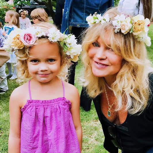 """<p>Grandma Goldie Hawn, or <a href=""""https://www.yahoo.com/celebrity/for-these-celebrity-grandmas-granny-just-wont-203649851.html"""" data-ylk=""""slk:""""GoGo"""" as she is known to her grandkids;outcm:mb_qualified_link;_E:mb_qualified_link"""" class=""""link rapid-noclick-resp newsroom-embed-article"""">""""GoGo"""" as she is known to her grandkids</a>, was so proud of her """"baby Rio"""" on her """"pre-school graduation day,"""" June 8. The comedic actress, whose career has spanned more than 50 years, added, """"At last I graduated!!"""" Flower princess Rio, 3, is the youngest child of Hawn's son Oliver Hudson. (Photo: <a href=""""https://www.instagram.com/p/BVGTa7PjhEF/?hl=en"""" rel=""""nofollow noopener"""" target=""""_blank"""" data-ylk=""""slk:Goldie Hawn via Instagram"""" class=""""link rapid-noclick-resp"""">Goldie Hawn via Instagram</a>) </p>"""