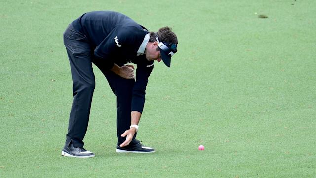 If you're watching The Masters, you might be wondering why Bubba Watson is using a pink ball.