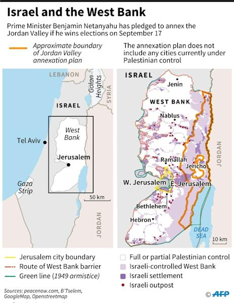 Map of Israel and the West Bank. (AFP Photo/)