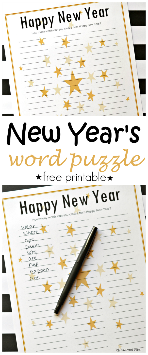 "<p>How many words can you create from the letters in Happy New Year? This printable is fun, challenging, and educational for kids. As you go around, each person challenges the one on their right. (For example: ""Find a word with two vowels."") Skip that person if they can't come up with an answer. The last player remaining is the winner.</p><p><em><a href=""https://www.theresourcefulmama.com/new-years-eve-word-puzzle-free-printable/"" rel=""nofollow noopener"" target=""_blank"" data-ylk=""slk:Get the printable at The Resourceful Mama»"" class=""link rapid-noclick-resp"">Get the printable at The Resourceful Mama»</a></em><br></p>"