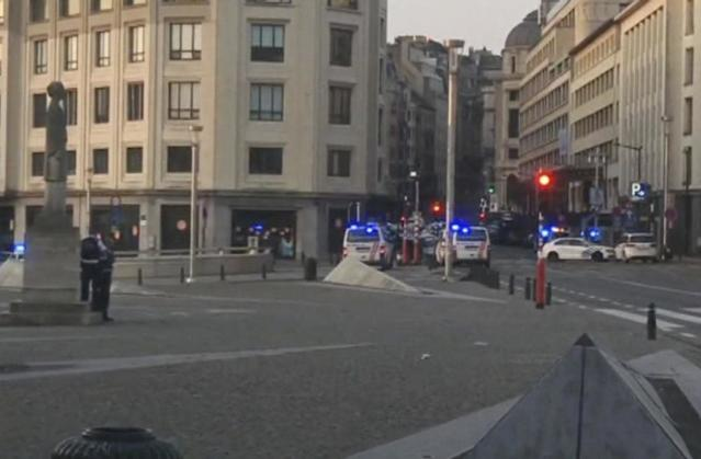 <p>In this image taken from video, police cars create a cordon near the train station in central Brussels, Tuesday June 20, 2017. Belgian media report that explosion-like noises have been heard at a Brussels train station; the main square evacuated. (AP Photo) </p>