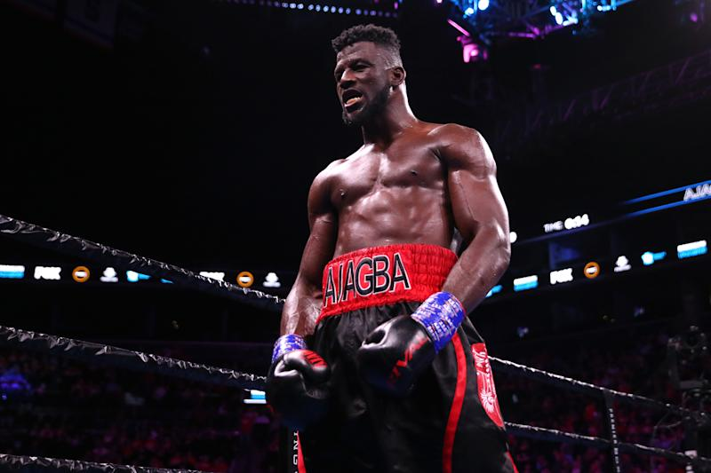 NEW YORK, NEW YORK - MARCH 07: Efe Ajagba celebrates after defeating Razvan Cojanu by KO during their Heavyweight Championship bout at Barclays Center on March 07, 2020 in Brooklyn borough of New York City. (Photo by Michael Owens/Getty Images)