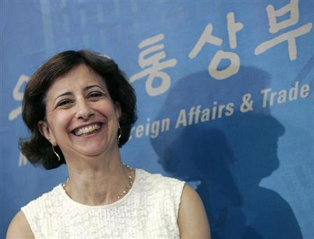 Assistant U.S. Trade Representative Wendy Cutler smiles during a news conference in Seoul