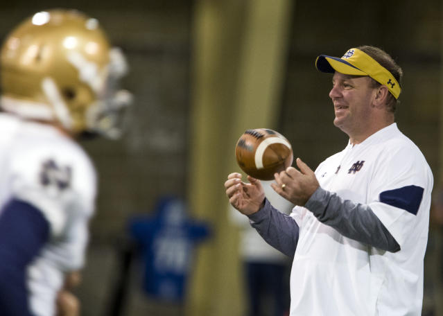 Mike Elko spent one season as the defensive coordinator at Notre Dame. (Becky Malewitz/South Bend Tribune via AP, File)