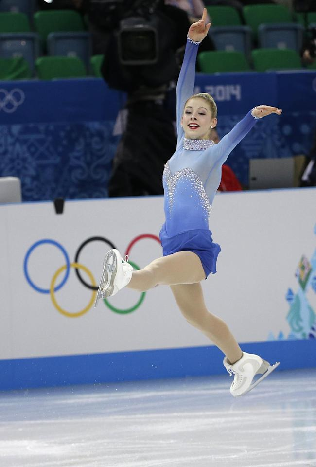 Gracie Gold of the United States competes in the women's team free skate figure skating competition at the Iceberg Skating Palace during the 2014 Winter Olympics, Sunday, Feb. 9, 2014, in Sochi, Russia. (AP Photo/David J. Phillip )
