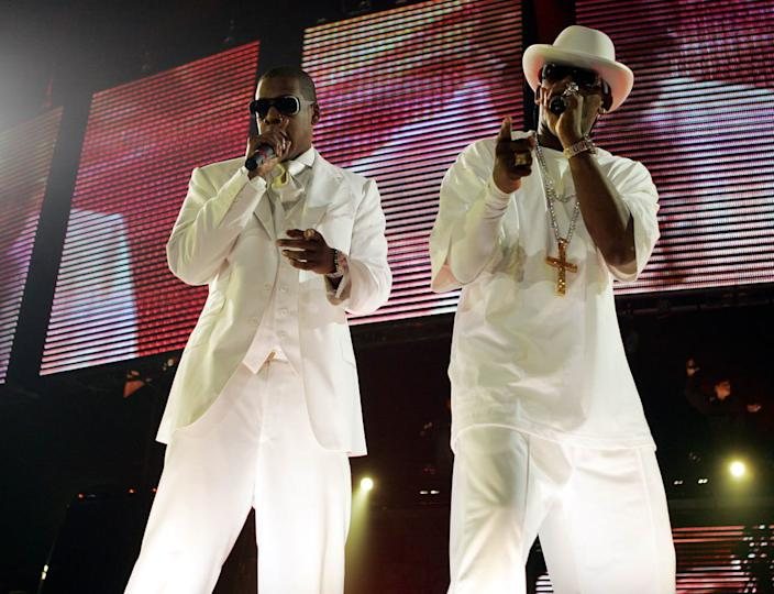 """<div class=""""inline-image__caption""""><p>Jay-Z and R. Kelly perform during their 'Best of Both Worlds' tour on September 30, 2004, at the Allstate Arena in Rosemont, Illinois. </p></div> <div class=""""inline-image__credit"""">Frank Micelotta/Getty</div>"""