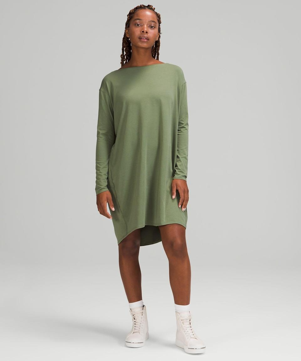 """<h2>lululemon Back in Action Long Sleeve Dress</h2><br><strong><em>The Back-To-Work Look</em></strong><br><br>This long sleeve, breathable dress is made to move when you move — whenever, wherever — making it a popular pick for getting back out into the world after life on lockdown.<br><br><strong>The Hype: </strong>4.1 out of 5 stars; 41 reviews on lululemon.com<br><br><strong>What They're Saying</strong>: """"I need it in every color. This is perfect for transitioning back into work gear! So comfortable, very flattering neckline, with long-sleeves that are perfect for the office.""""— ElizaGonzalez, lululemon reviewer<br><br><em>Shop</em> <strong><em><a href=""""https://shop.lululemon.com/p/skirts-and-dresses-dresses/Back-in-Action-Long-Sleeve-Dress/_/prod10520422?color=33093"""" rel=""""sponsored"""" target=""""_blank"""" data-ylk=""""slk:lululemon"""" class=""""link rapid-noclick-resp"""">lululemon</a></em></strong><br><br><strong>Lululemon</strong> Back in Action Long Sleeve Dress, $, available at <a href=""""https://go.skimresources.com/?id=30283X879131&url=https%3A%2F%2Fshop.lululemon.com%2Fp%2Fskirts-and-dresses-dresses%2FBack-in-Action-Long-Sleeve-Dress%2F_%2Fprod10520422%3Fcolor%3D33093"""" rel=""""sponsored"""" target=""""_blank"""" data-ylk=""""slk:Lululemon"""" class=""""link rapid-noclick-resp"""">Lululemon</a>"""