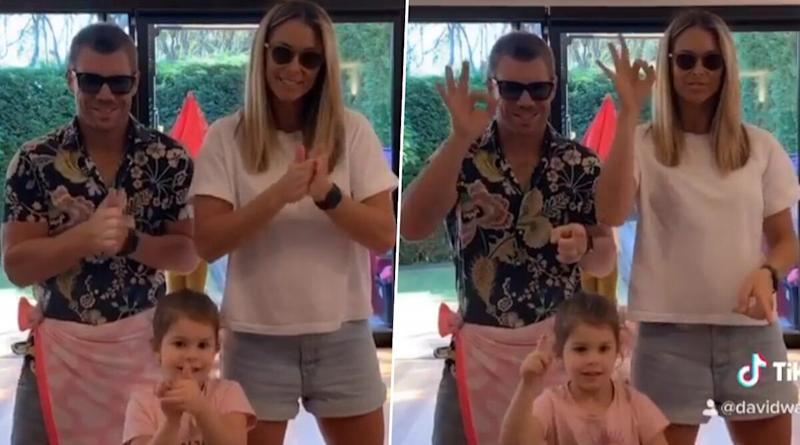 David Warner, Wife Candice and Daughter Indi Groove to Tamil Song Inji Iduppazhaga in Their Latest TikTok Video