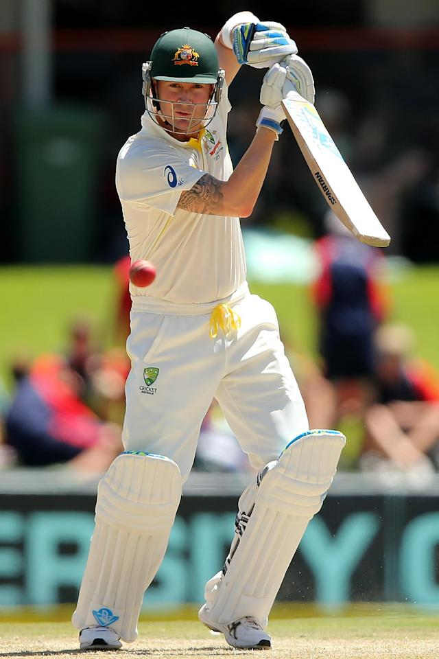 CENTURION, SOUTH AFRICA - FEBRUARY 12: Michael Clarke of Australia bats during day one of the First Test match between South Africa and Australia on February 12, 2014 in Centurion, South Africa. (Photo by Morne de Klerk/Getty Images)