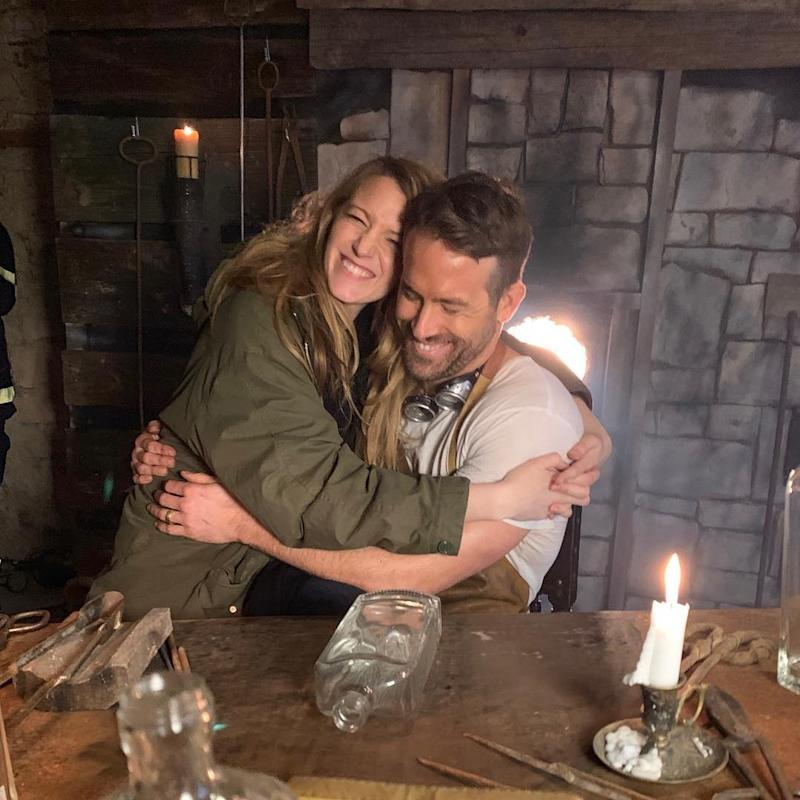 Ryan Reynolds Cuddles Up with Blake Lively on Set — and She Serves as Photographer!