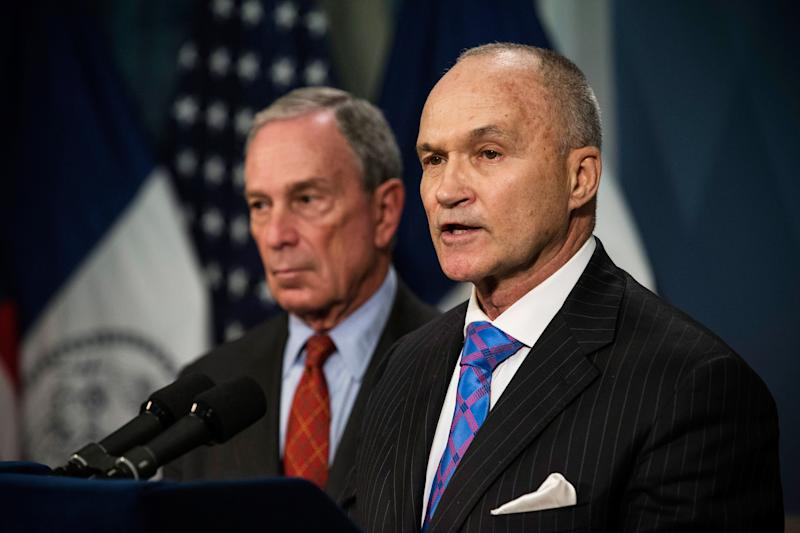 NEW YORK, NY - AUGUST 12: New York Police Department (NYPD) Commissioner Ray Kelly (R) speaks at a press conference with New York City Mayor Michael Bloomberg about the NYPD's Stop-and-Frisk practice on August 12, 2013 in New York City. A federal court judge ruled that Stop-and-Frisk violates rights guaranteed to people; the Bloomberg administration has vowed to appeal the case. (Photo by Andrew Burton/Getty Images)