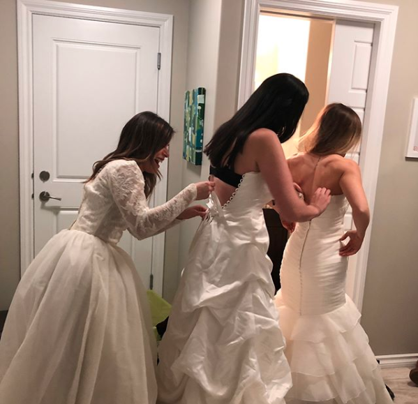 Everyone wore their wedding dresses to the party. Photo: Instagram/nicoleniesner