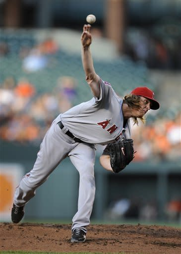 Los Angeles Angels starting pitcher Jered Weaver delivers against the Baltimore Orioles during the second inning of a baseball game on Wednesday, June 27, 2012, in Baltimore. (AP Photo/Nick Wass)