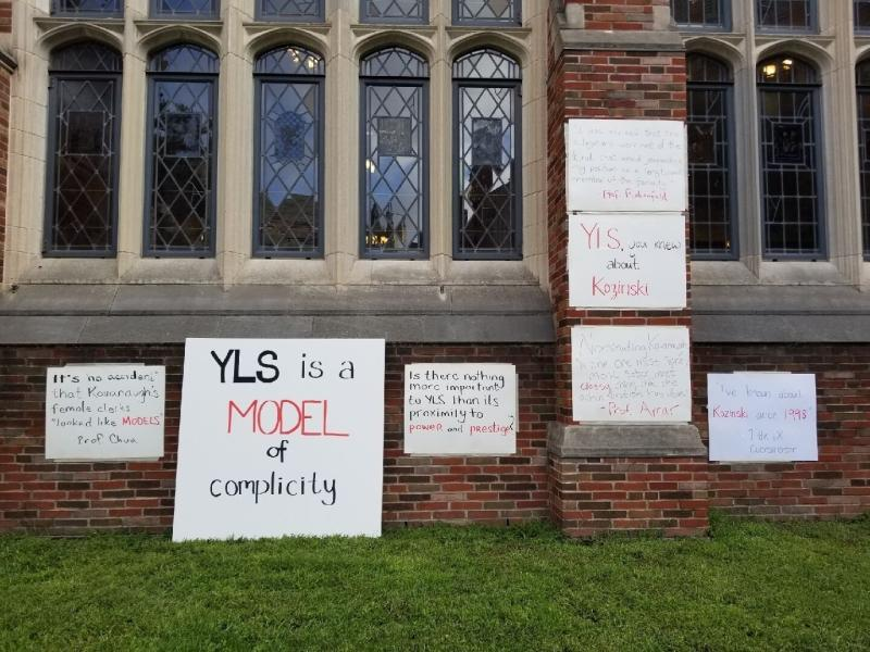 """Student signs accuse Yale Law School's administrators of """"complicity"""" in sexual misconduct. (Courtesy Yale Law School students organizing protests)"""