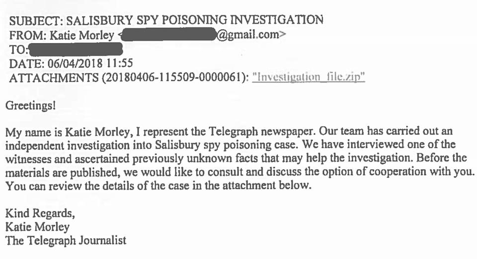 Katie Morley fake Russian letter - News Scans