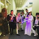 """<p>If you expected that Cuoco would be dressed as Princess Leia, you'd be wrong. The actress rocked her best <a rel=""""nofollow noopener"""" href=""""https://www.instagram.com/p/8aD7FjuWZ-/?utm_source=ig_embed"""" target=""""_blank"""" data-ylk=""""slk:Luke Skywalker costume"""" class=""""link rapid-noclick-resp"""">Luke Skywalker costume</a> for a 2015 charity event. (Photo: Kaley Cuoco via Instagram) <br><br></p>"""