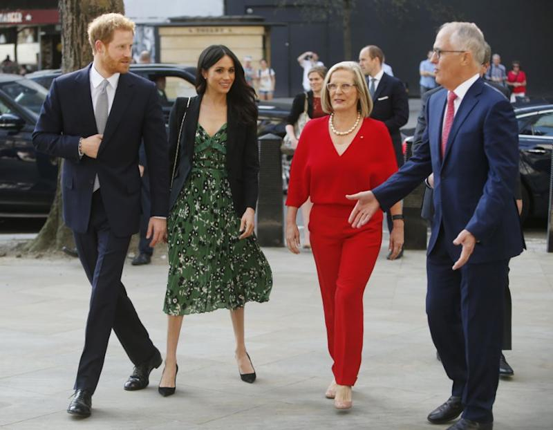 Meghan and Harry were all smiles as they met with Australian PM Malcolm Turnbull and his wife Lucy. Photo: Getty