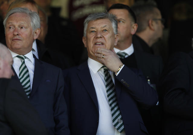Britain Football Soccer - Heart of Midlothian v Celtic - Scottish Premiership - Tynecastle - 2/4/17 Celtic Chief Executive Peter Lawwell in the stands before the match Reuters / Russell Cheyne Livepic